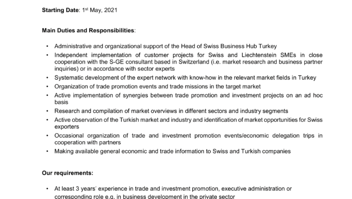 Open Job Position: ISTANBUL – Consulate General of Switzerland – Local Trade Officer Swiss Business Hub Turkey