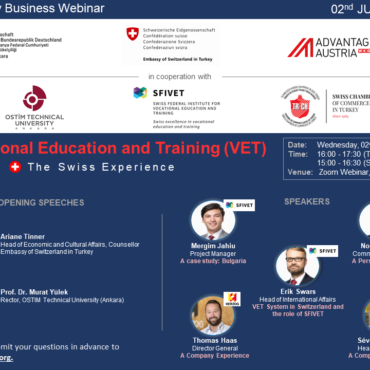 """WEBINAR: 02 JUNE   3-Country Business Webinar   """"Vocational Education and Training (VET): The Swiss Experience"""""""